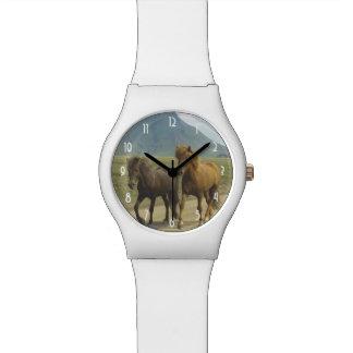 A Pair of Brown Icelandic Ponies Wristwatch