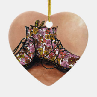A Pair of Favourite Floral Boots Ceramic Heart Decoration