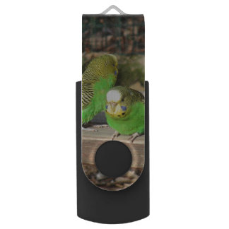 A Pair of Green Budgies on a wooden bench Swivel USB 2.0 Flash Drive