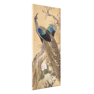 A Pair of Peacocks in Spring by Imao Keinen Gallery Wrapped Canvas