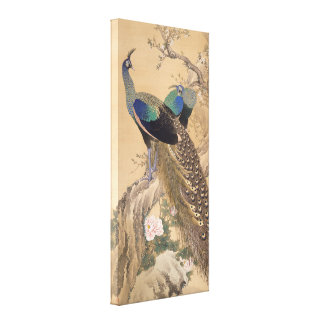 A Pair of Peacocks in Spring by Imao Keinen Stretched Canvas Print