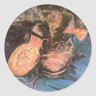 A Pair of Shoes by Vincent van Gogh, Vintage Art Classic Round Sticker