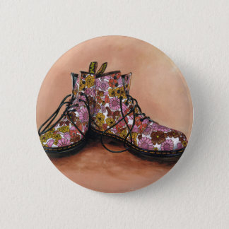 A Pair of Treasured Flowery Boots 6 Cm Round Badge