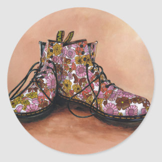 A Pair of Treasured Flowery Boots Classic Round Sticker