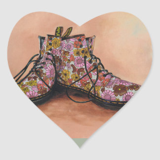 A Pair of Treasured Flowery Boots Heart Sticker