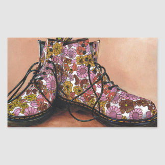 A Pair of Treasured Flowery Boots Rectangular Sticker