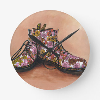A Pair of Treasured Flowery Boots Round Clock