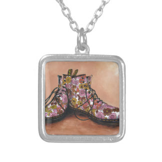 A Pair of Treasured Flowery Boots Silver Plated Necklace