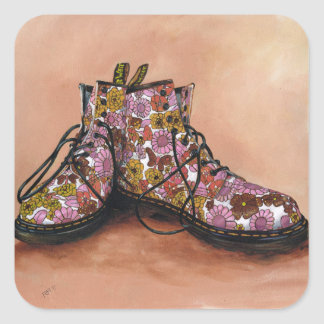 A Pair of Treasured Flowery Boots Square Sticker