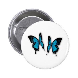 A Pair of Tropical Blue Butterflies Pinback Buttons