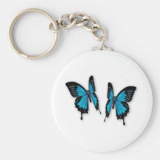 A Pair of Tropical Blue Butterflies Key Ring