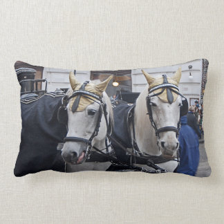 A pair of white horses lumbar cushion