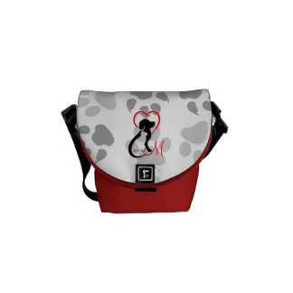 A-PAL Logo | Monogram Cat and Dog Red Heart Messenger Bags