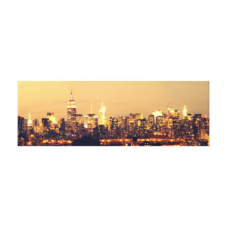 A Panoramic View of Manhattan at Dawn Empire State Stretched Canvas Print