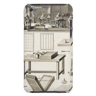 A paper marbler's workshop and tools, from the 'En iPod Touch Cases