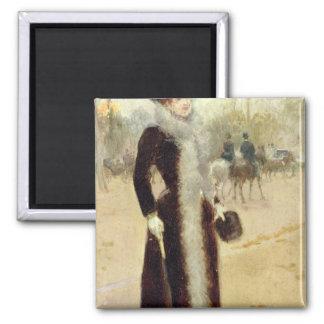 A Parisian Woman in the Bois de Boulogne, c.1899 Fridge Magnet