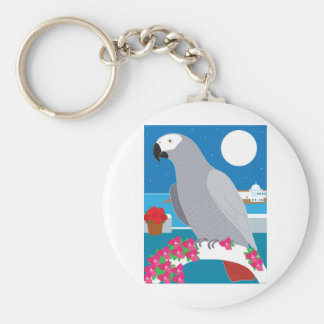 A Parrot in Paradise Basic Round Button Key Ring