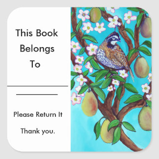 A Partridge In A Pear Tree Book Plate Glossy Square Sticker