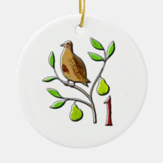 A partridge in a pear tree ceramic ornament