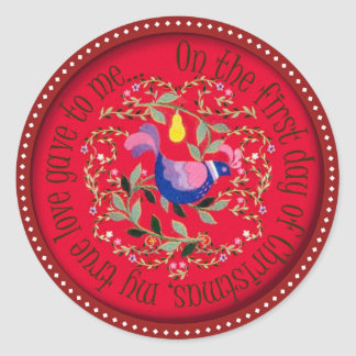 A partridge  in a pear tree classic round sticker