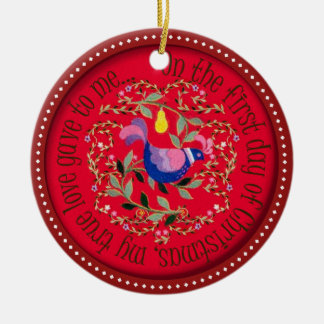 A partridge in a pear tree round ceramic decoration