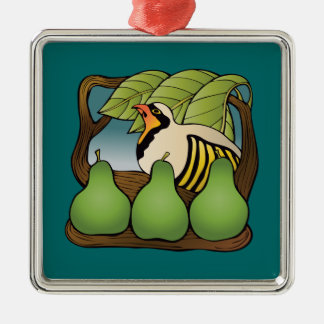 A partridge in a pear tree Silver-Colored square decoration