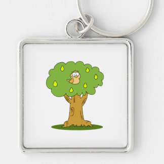 A Partridge in a Pear Tree Silver-Colored Square Key Ring