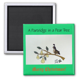 A Partridge in a Pear Tree. Square Magnet