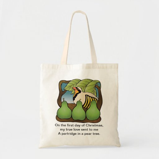 A partridge in a pear tree tote bag
