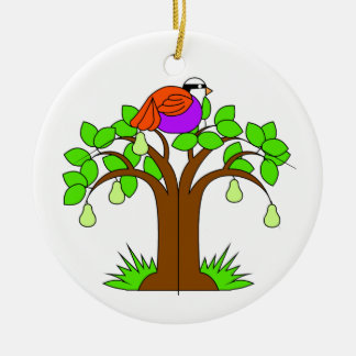 A Partridige in a Pear Tree Round Ceramic Decoration