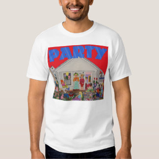 a party shirt red background blue letters
