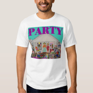 a party shirt with blue background purple letters