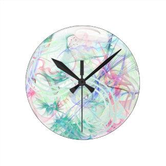 A Pastel Garden Round Clock