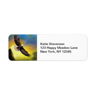 A Patriotic Design with Bald Eagle Flying High Return Address Label