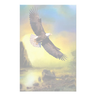 A Patriotic Design with Bald Eagle Flying High Stationery Paper