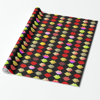 a pattern of colorful woman lips . mouths wrapping paper