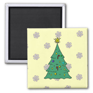 A pattern of snowflakes,Christmas tree Square Magnet