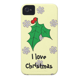 A pattern of snowflakes, I love Christmas iPhone 4 Cover
