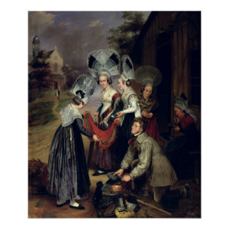 A Peddler Selling Scarves to Women from Troyes Poster