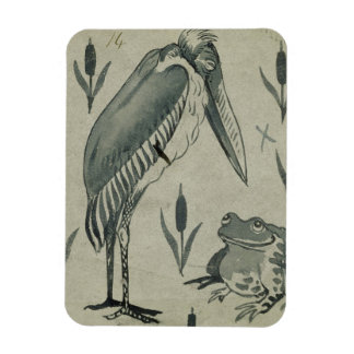 A Pelican and Frog in Conversation (w/c on paper) Magnet
