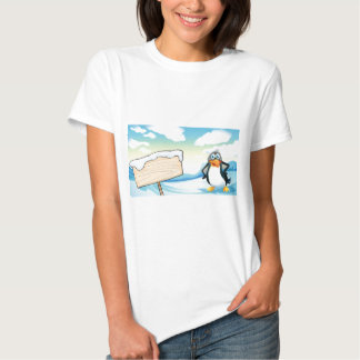 A penguin beside the empty wooden signboard t-shirt
