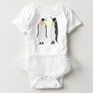A Penguin Couple  Ink Drawing Baby Bodysuit