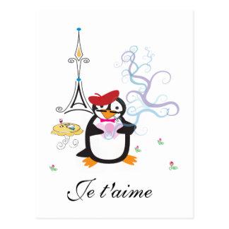 A Penguin in Paris Postcard