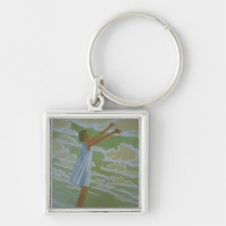 A penny for your Thoughts Silver-Colored Square Key Ring
