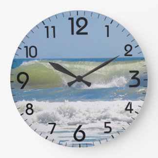 A perfect beach wave large clock