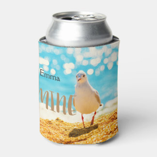 A  personalised fun design with a seagull can cooler