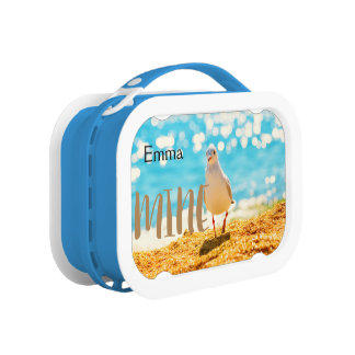 A personalised lunch with  a seagull in blue. lunch box