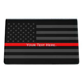 A Personalized American Thin Red Line Decor Desk Business Card Holder