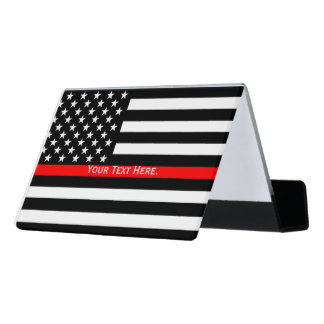 A Personalized American Thin Red Line Display Desk Business Card Holder