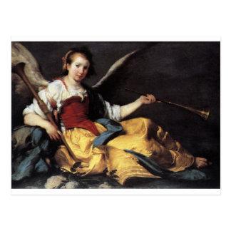 A Personification of Fame by Bernardo Strozzi Postcard